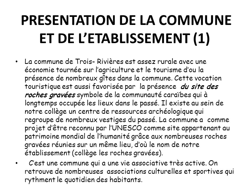 PRESENTATION DE LA COMMUNE ET DE L'ETABLISSEMENT (1)