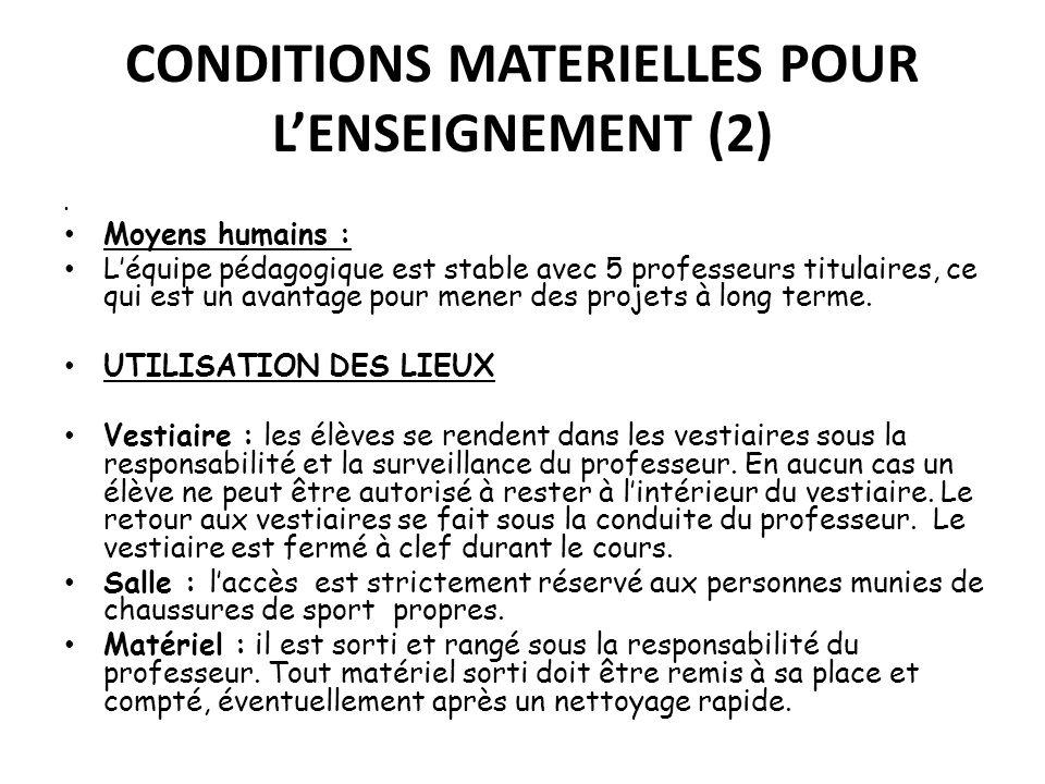 CONDITIONS MATERIELLES POUR L'ENSEIGNEMENT (2)