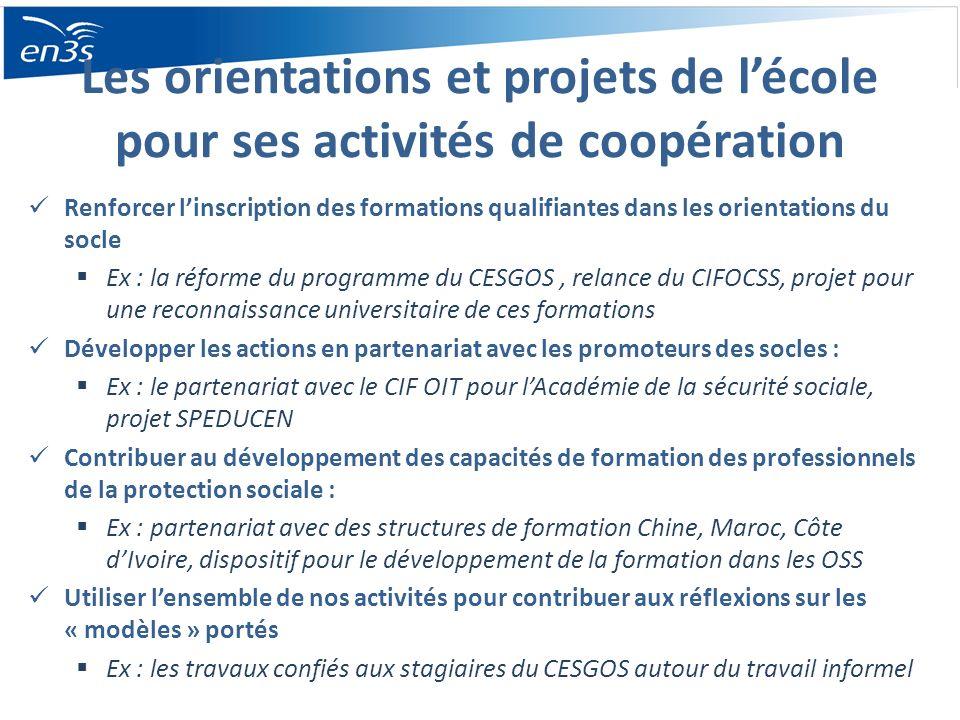 Les orientations et projets de l'école pour ses activités de coopération