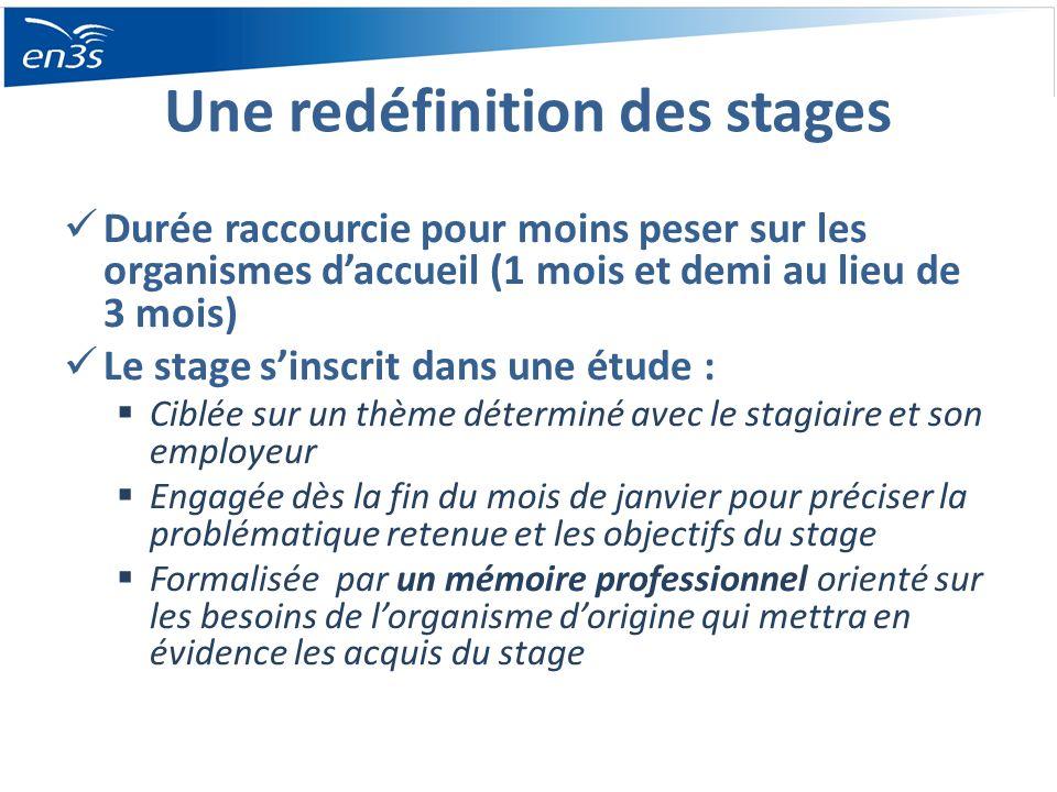 Une redéfinition des stages