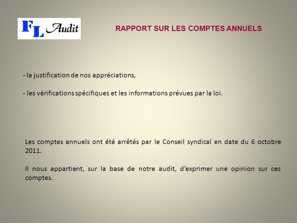 RAPPORT SUR LES COMPTES ANNUELS