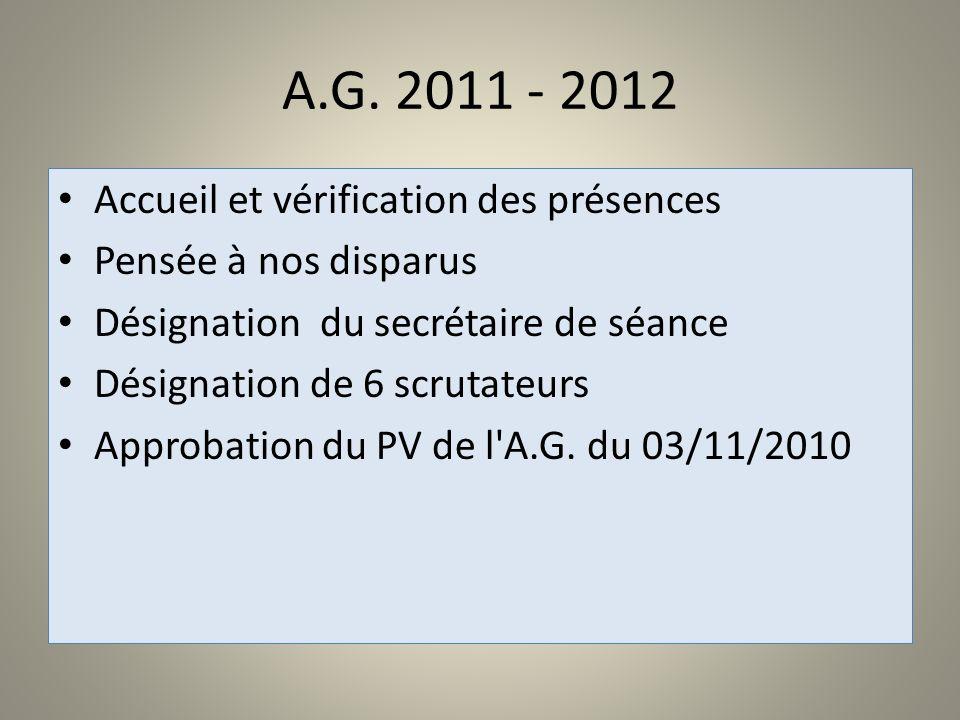 A.G. 2011 - 2012 Accueil et vérification des présences