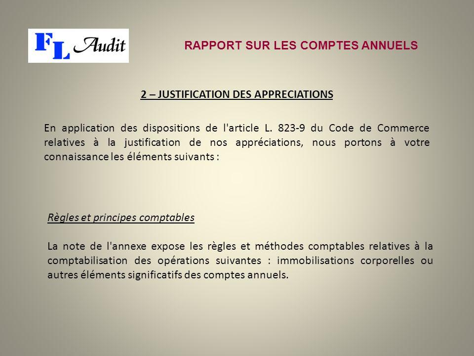 RAPPORT SUR LES COMPTES ANNUELS 2 – JUSTIFICATION DES APPRECIATIONS