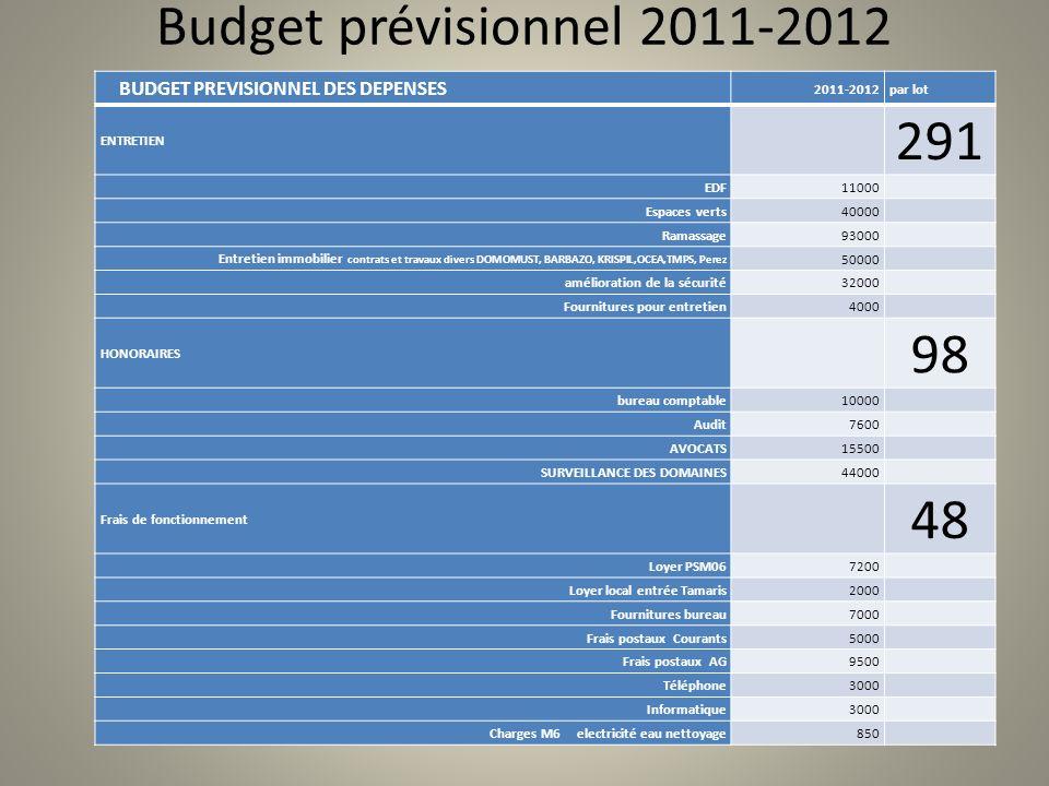 Budget prévisionnel 2011-2012 BUDGET PREVISIONNEL DES DEPENSES. 2011-2012. par lot. ENTRETIEN.