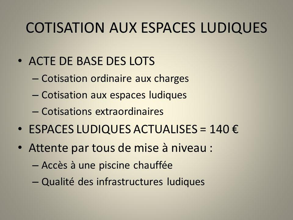 COTISATION AUX ESPACES LUDIQUES