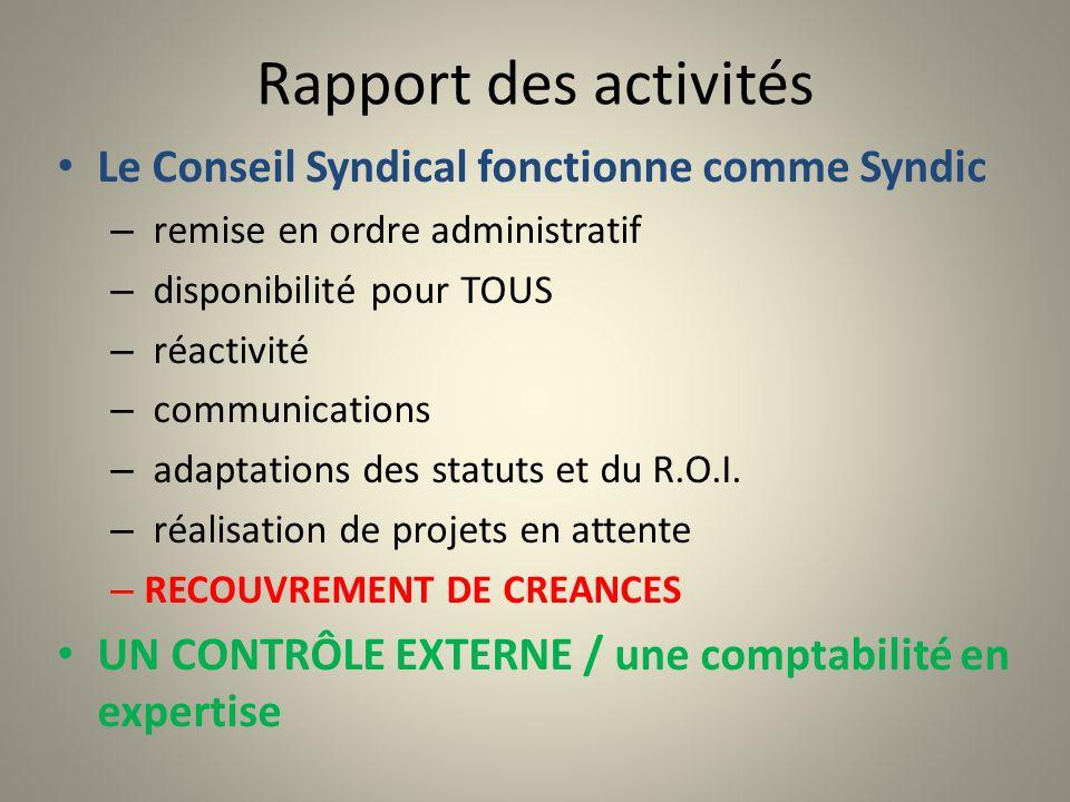 Rapport des activités Le Conseil Syndical fonctionne comme Syndic