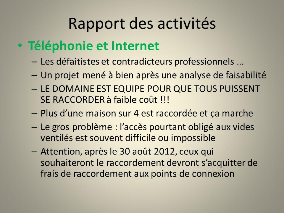 Rapport des activités Téléphonie et Internet