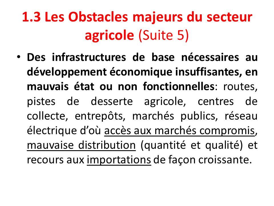 1.3 Les Obstacles majeurs du secteur agricole (Suite 5)