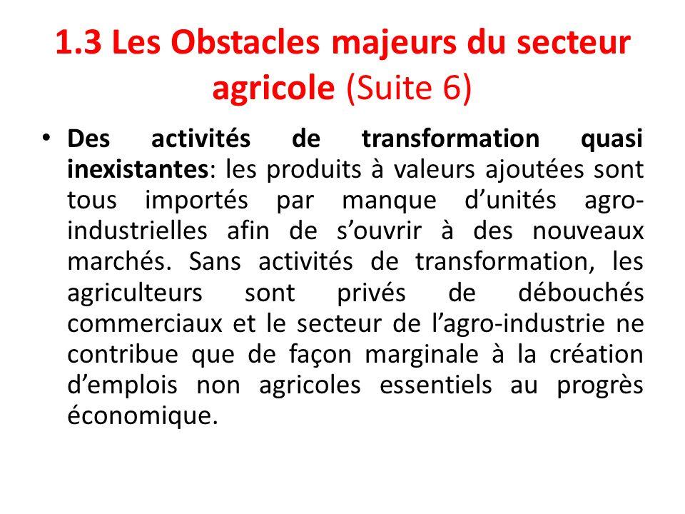 1.3 Les Obstacles majeurs du secteur agricole (Suite 6)