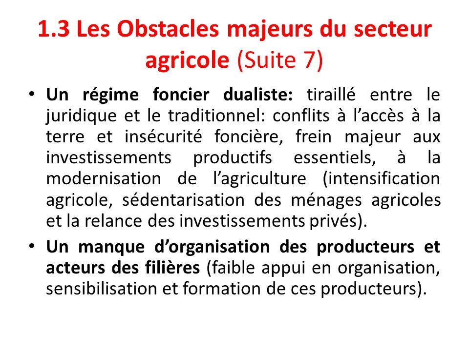 1.3 Les Obstacles majeurs du secteur agricole (Suite 7)
