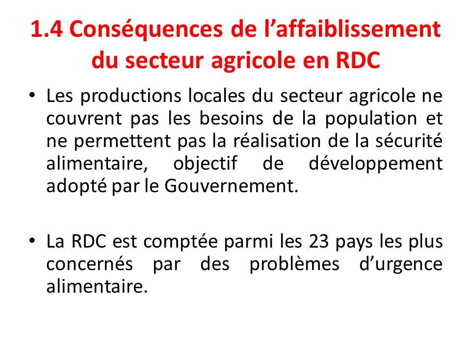 1.4 Conséquences de l'affaiblissement du secteur agricole en RDC