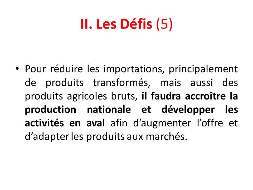II. Les Défis (5)