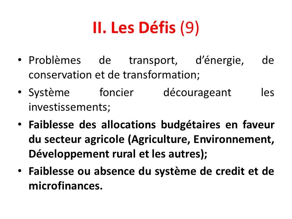 II. Les Défis (9) Problèmes de transport, d'énergie, de conservation et de transformation; Système foncier décourageant les investissements;