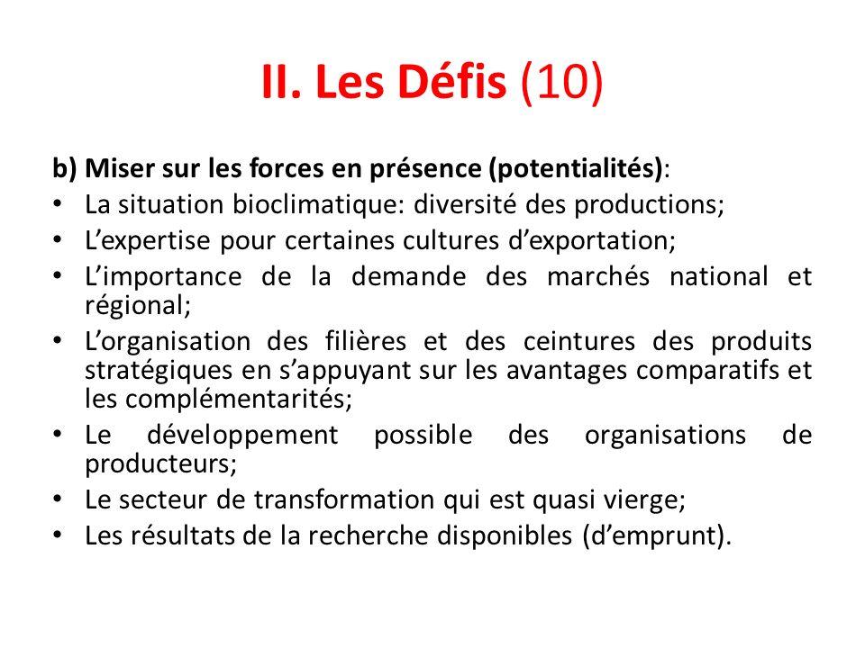II. Les Défis (10) b) Miser sur les forces en présence (potentialités): La situation bioclimatique: diversité des productions;
