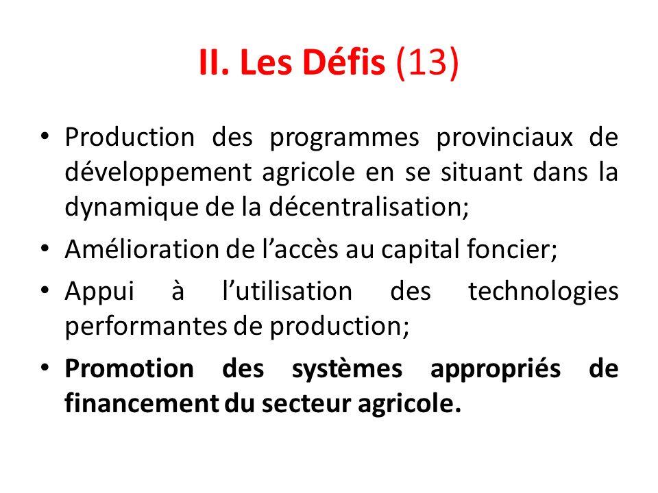 II. Les Défis (13) Production des programmes provinciaux de développement agricole en se situant dans la dynamique de la décentralisation;