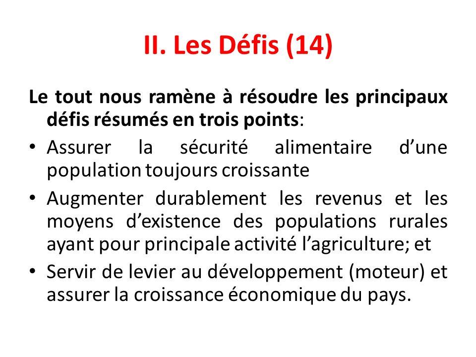 II. Les Défis (14) Le tout nous ramène à résoudre les principaux défis résumés en trois points: