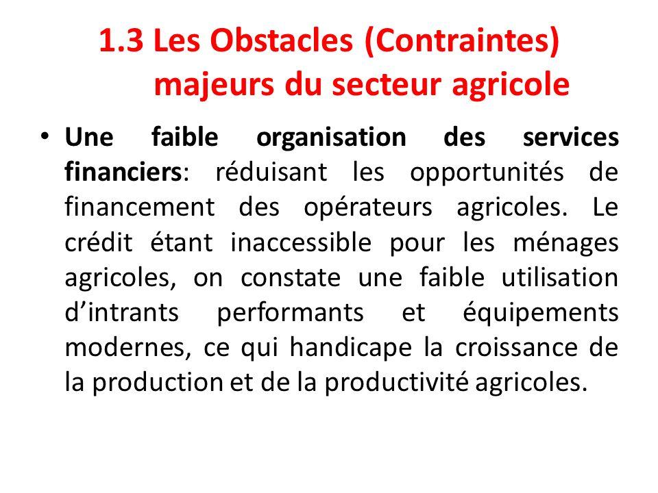 1.3 Les Obstacles (Contraintes) majeurs du secteur agricole