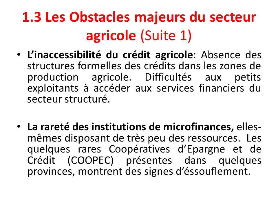 1.3 Les Obstacles majeurs du secteur agricole (Suite 1)