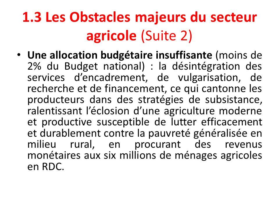 1.3 Les Obstacles majeurs du secteur agricole (Suite 2)
