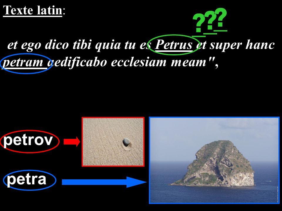 Texte latin: et ego dico tibi quia tu es Petrus et super hanc petram aedificabo ecclesiam meam ,