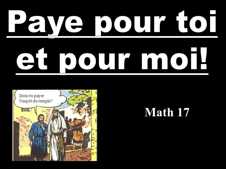 Paye pour toi et pour moi! Dois-tu payer l impôt du temple Math 17
