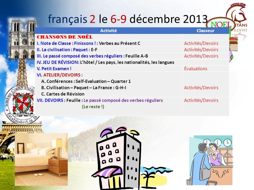 français 2 le 6-9 décembre 2013 Activité Classeur CHANSONS DE NOËL