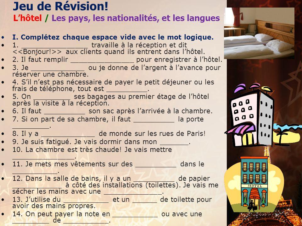 Jeu de Révision! L'hôtel / Les pays, les nationalités, et les langues