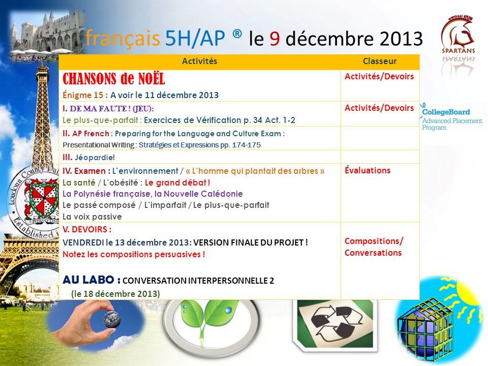 français 5H/AP ® le 9 décembre 2013