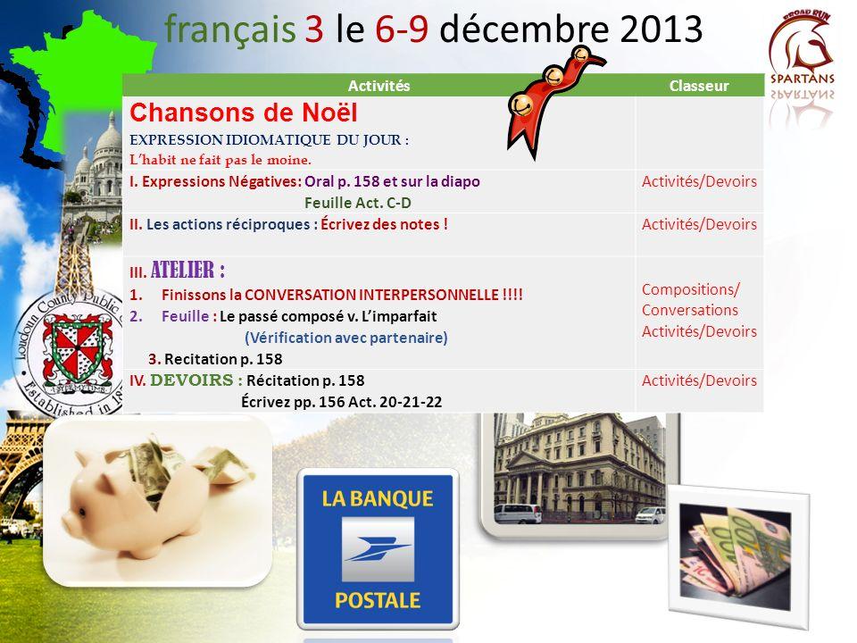 français 3 le 6-9 décembre 2013 Chansons de Noël Activités Classeur