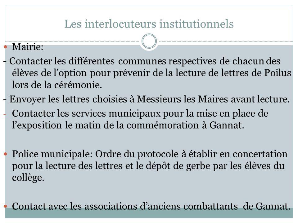 Les interlocuteurs institutionnels