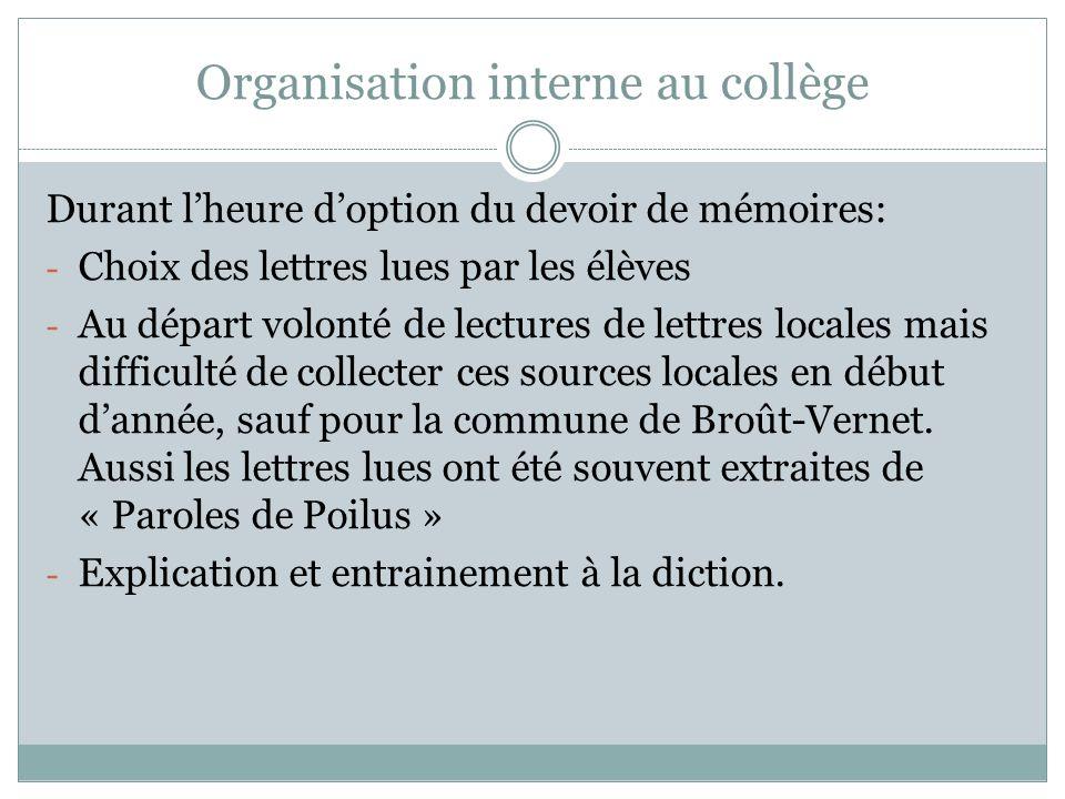 Organisation interne au collège