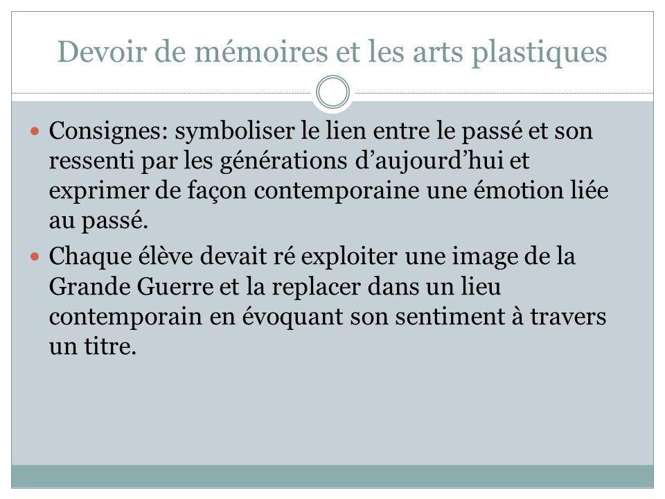 Devoir de mémoires et les arts plastiques