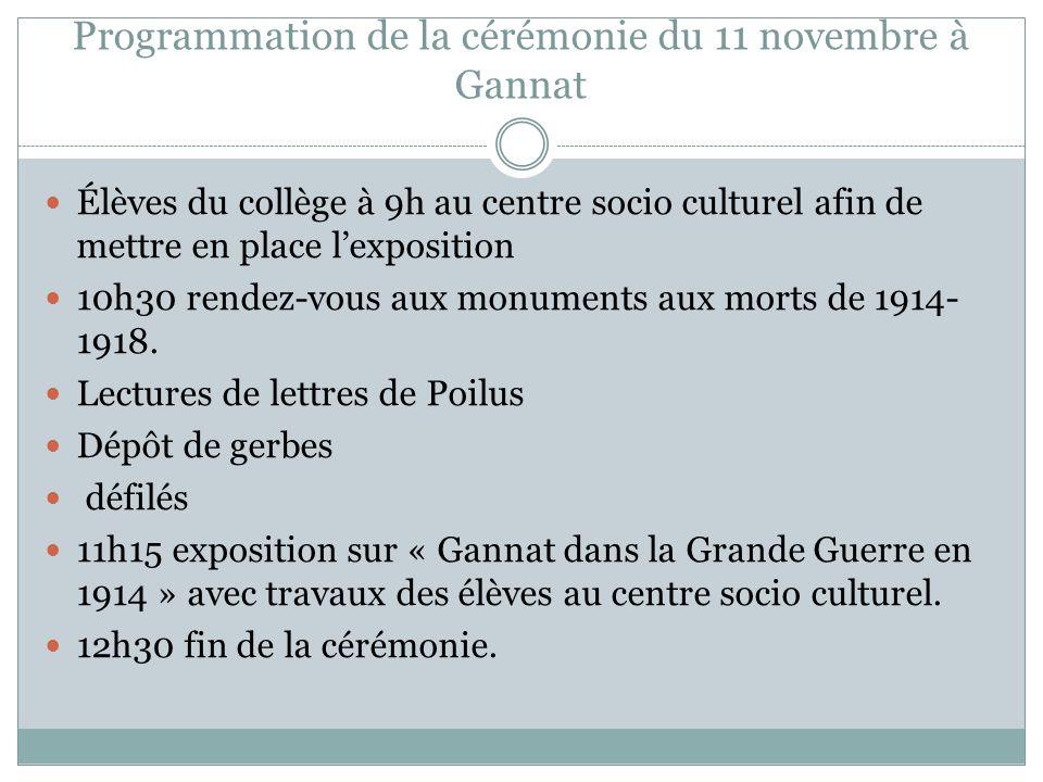 Programmation de la cérémonie du 11 novembre à Gannat