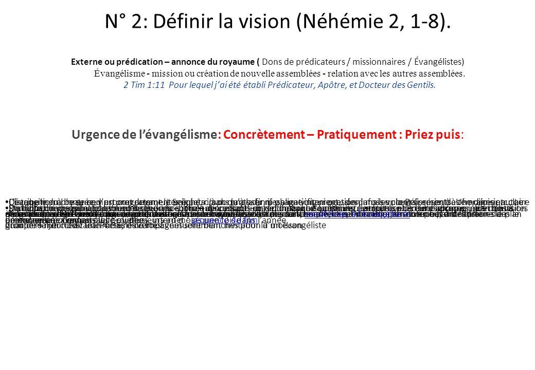 N° 2: Définir la vision (Néhémie 2, 1-8).