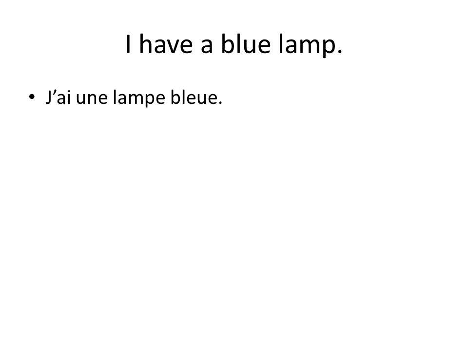 I have a blue lamp. J'ai une lampe bleue.