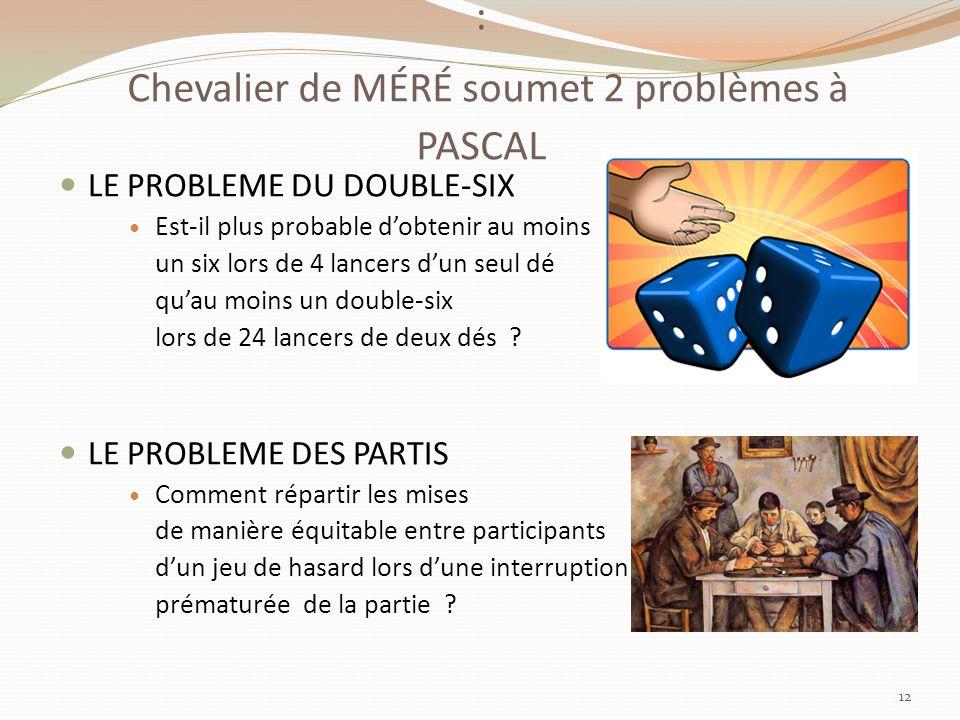 : Chevalier de MÉRÉ soumet 2 problèmes à PASCAL
