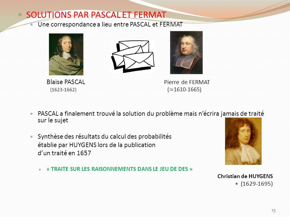 SOLUTIONS PAR PASCAL ET FERMAT