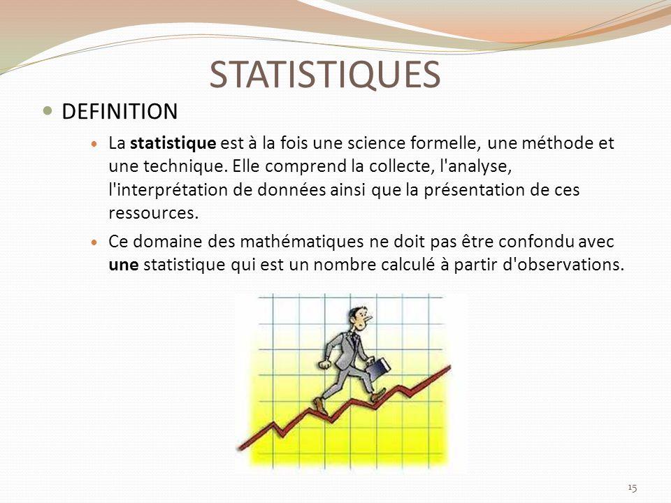 STATISTIQUES DEFINITION