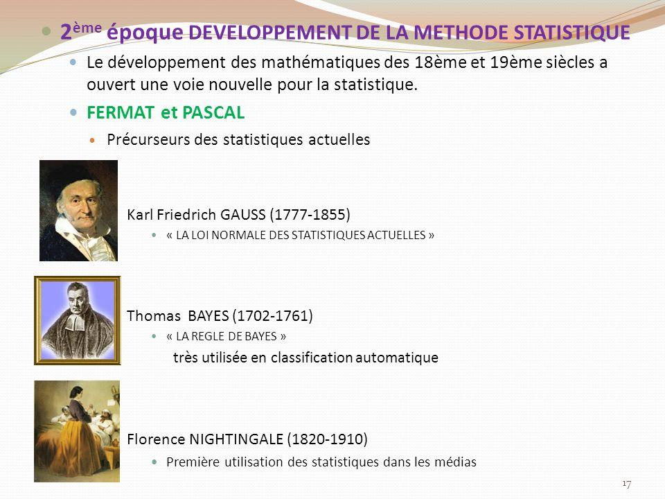 2ème époque DEVELOPPEMENT DE LA METHODE STATISTIQUE