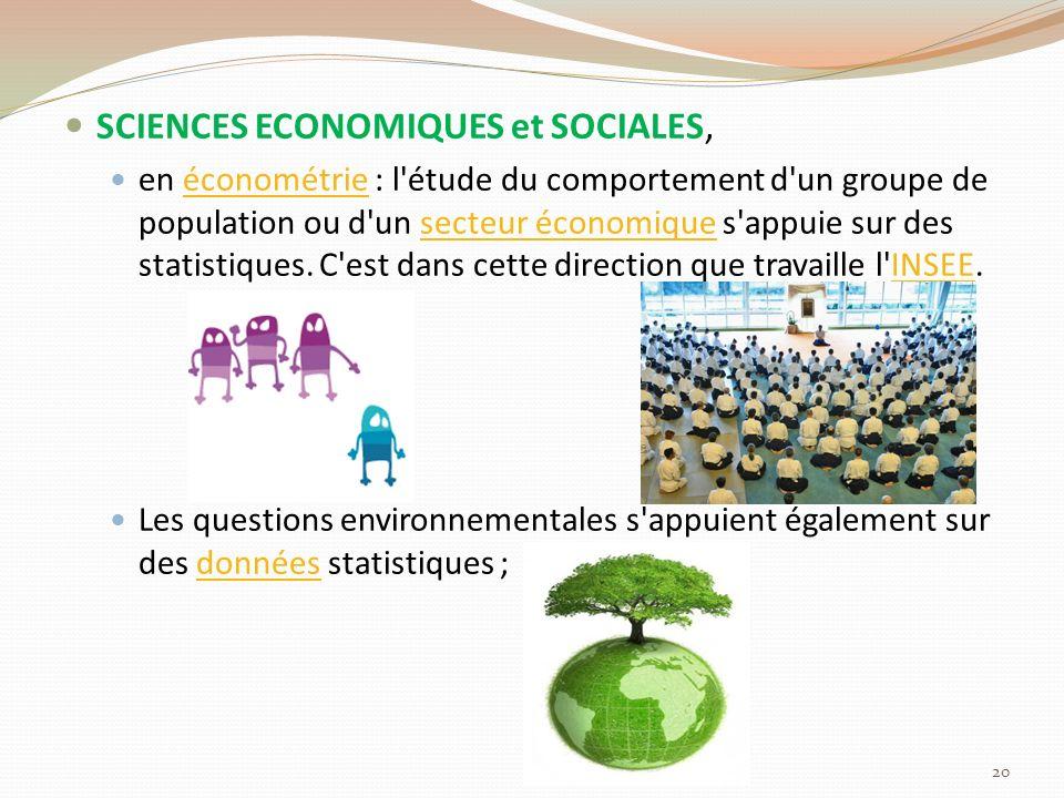 SCIENCES ECONOMIQUES et SOCIALES,