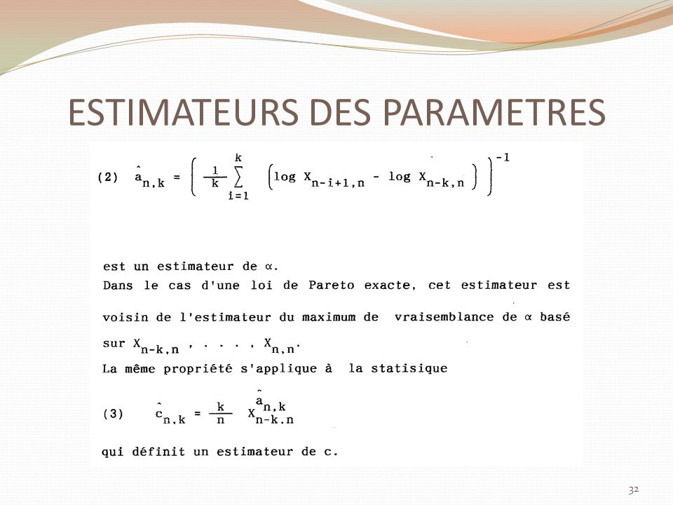 ESTIMATEURS DES PARAMETRES