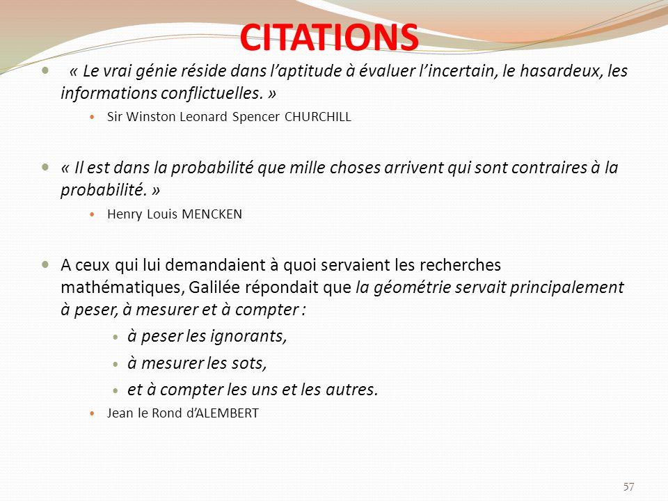 CITATIONS « Le vrai génie réside dans l'aptitude à évaluer l'incertain, le hasardeux, les informations conflictuelles. »