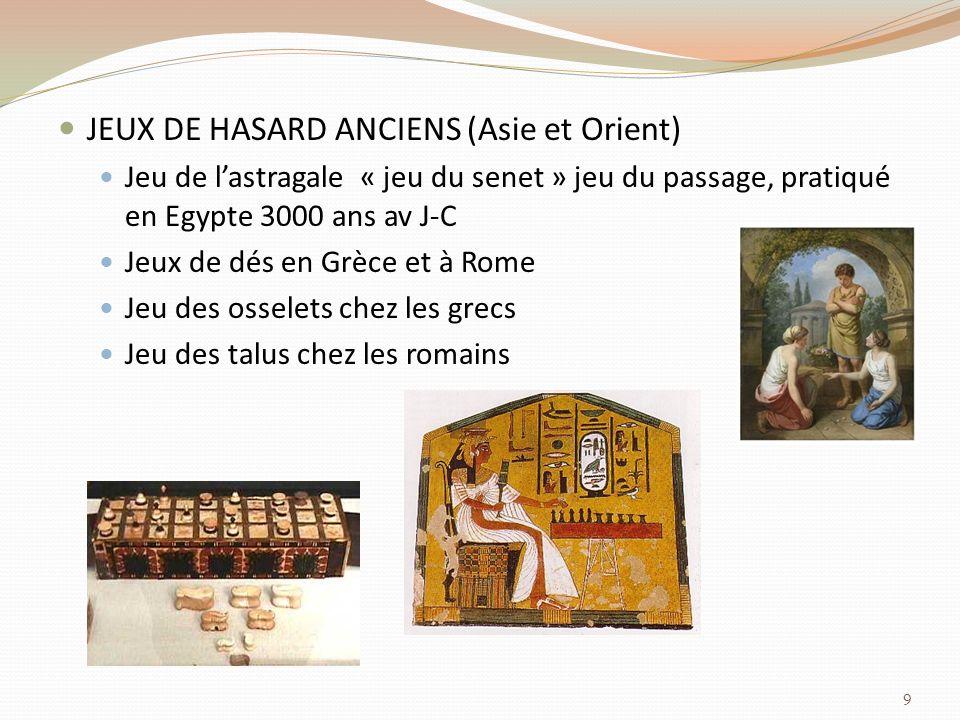 JEUX DE HASARD ANCIENS (Asie et Orient)