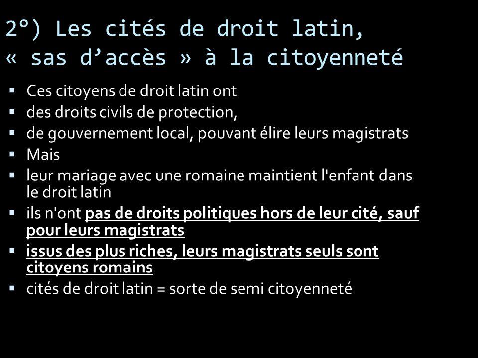 2°) Les cités de droit latin, « sas d'accès » à la citoyenneté
