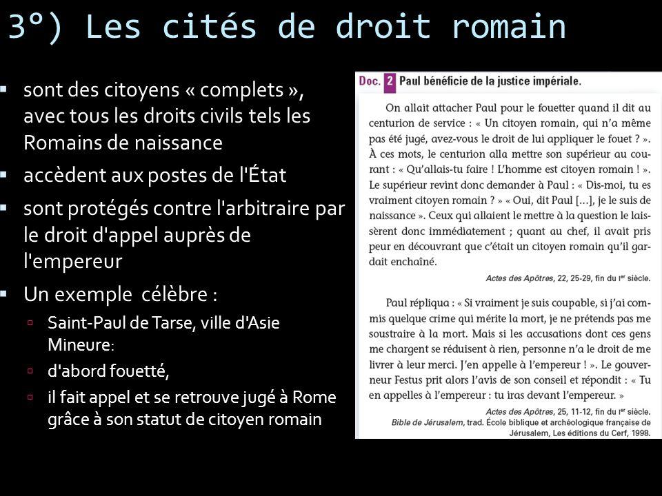 3°) Les cités de droit romain