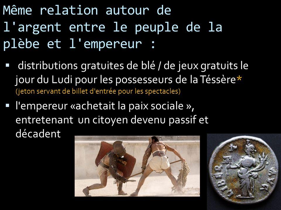 Même relation autour de l argent entre le peuple de la plèbe et l empereur :
