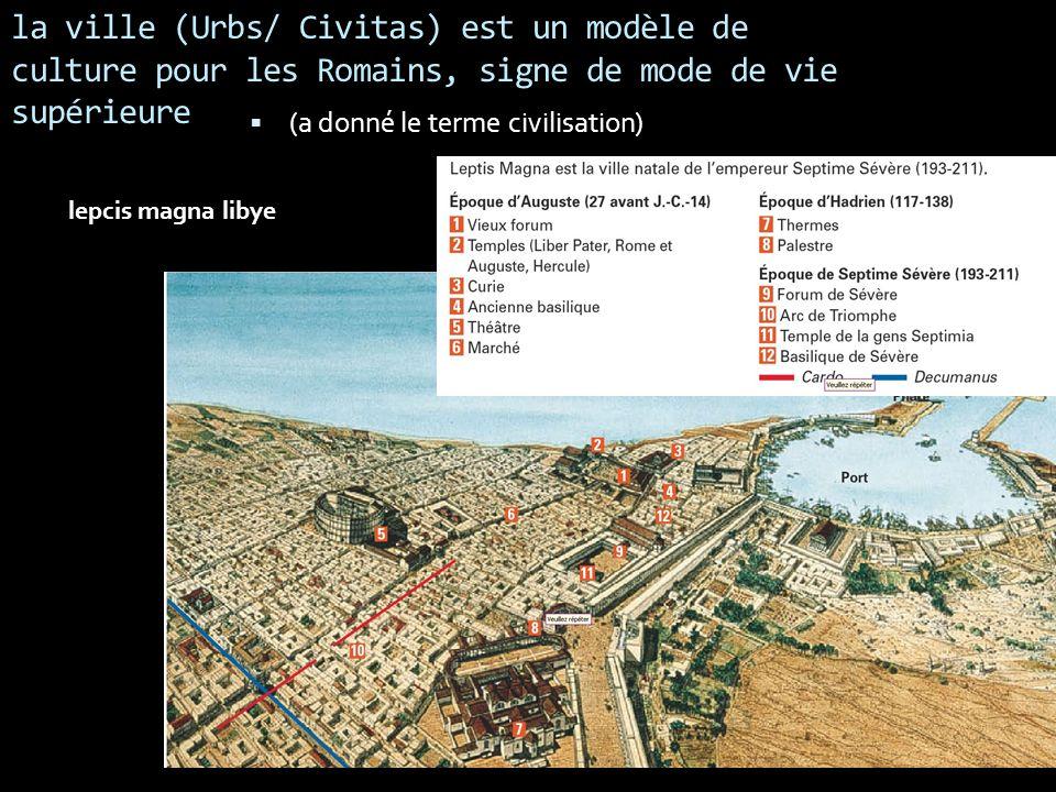 la ville (Urbs/ Civitas) est un modèle de culture pour les Romains, signe de mode de vie supérieure