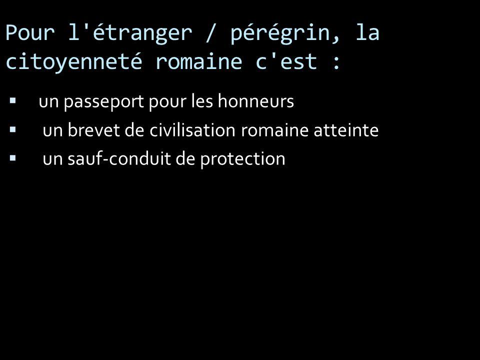 Pour l étranger / pérégrin, la citoyenneté romaine c est :