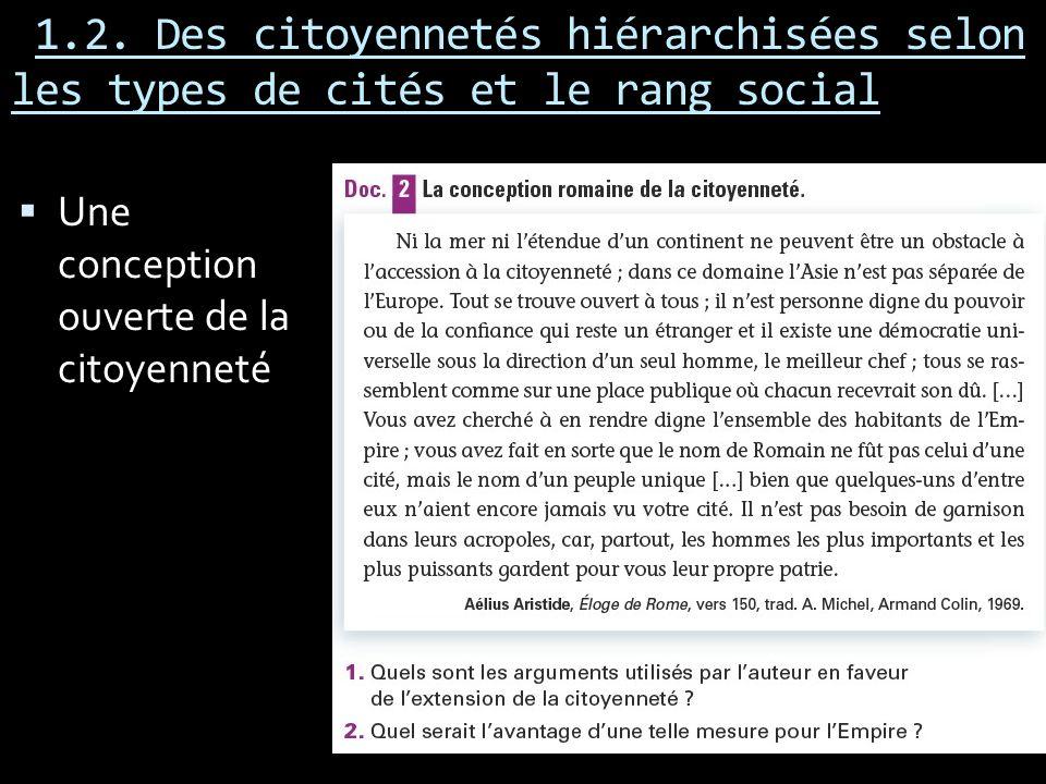 1.2. Des citoyennetés hiérarchisées selon les types de cités et le rang social