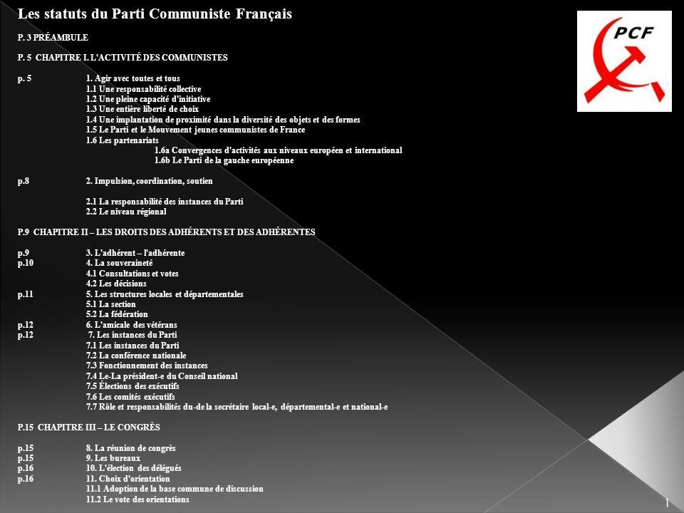 Les statuts du Parti Communiste Français